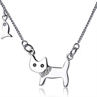 "925 Sterling Silver cat love fish chain choker Fashion necklace 16"" 18"" valentine's day gift"
