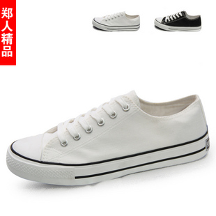 free shipping 2014 new black canvas low white cloth shoes fashion trend casual male canvas shoes hot sale