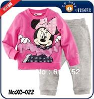 2013 new children kids pajamas sleepwear clothes sets wasabi cotton Minnie pajama girls clothing set