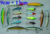 Lots of 16pcs Mixed Fishing Hard Lures Shad Crank Bait Hooks Tackles 9cm 13cm