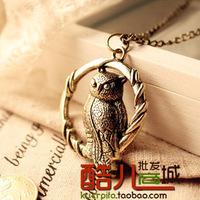 **No Minimum Order** Free Shipping, JA352 Punk Owl Necklace, Bronze Necklace, Resting Owl Pendant Necklace