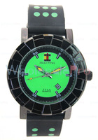 Men's SHAO PENG Quartz Date Stainless Steel 1ATM Water Resistant  Green Polka Dot Bracelet Watch