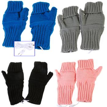 2013 NEW Gift PC Laptop USB 2.0 Heating Fingerless Gloves Hands Warmer for Women Men Gadgets Accessories Wholesale