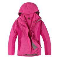 Free shipping  outdoor jacket for women waterproof women's coat with one fleece jacket  two piece