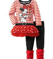 2013 new minnie stripe dress+pants clothing set cartoon girls tutu dress suit  wholesale 5set/lot