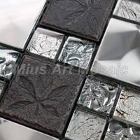 [Mius Art Mosaic]  Black  crystal mosaic tile & metal mosaic tiles for kitchen backsplash  A48044