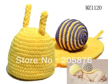 Retail Infant Baby Crochet Snail Hats Newborn Photography Beanies Baby Crochet Animal Hats Caps Free Shipping