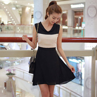 Summer women's double collar tank dress princess dress sleeveless one-piece dress