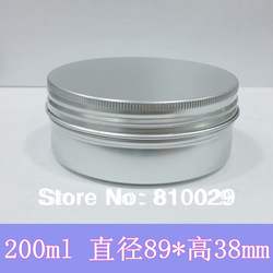 Wholesale 50pcs/lot 200ml Aluminum Container 200g Cream Jar Metal Round Tin Cosmetic Packaging(China (Mainland))