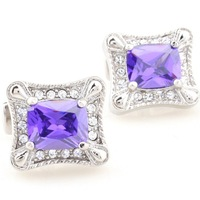 Romance purple crystal mosaic square cufflinks