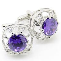 Trendy Purple Crystal Cufflinks