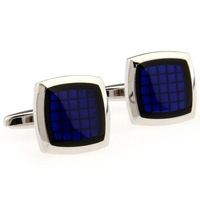 Classic Fashion Cufflinks Square Blue Epoxy Cuff Links