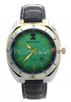 SHAO PENG Men's Quartz Calendar Genuine Leather Strap Water Resistant Stainless Steel Green Dial Fashion Sports Watch Online