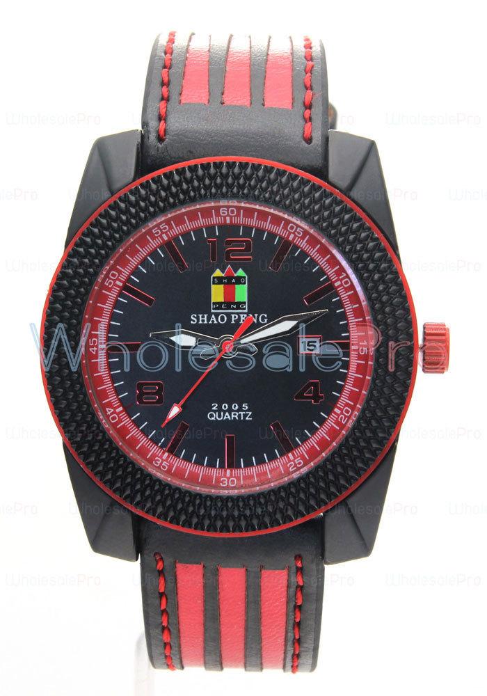 New Style SHAO PENG Men's Quartz Calendar Genuine Leather Strap Fashion Analog Black Dial Watch Online Shopping(China (Mainland))