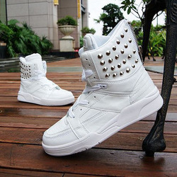 Free shipping Mens high tops korean fashion spike shoes punk designer studded sneakers(China (Mainland))