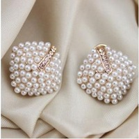 New Designer Classic Rhinestone Simulated-pearl Square Stud Earrings 2pairs/Lot Z-C6031 Free shipping