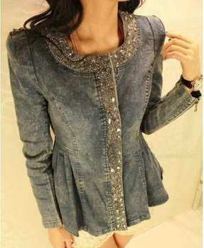 2013 New Women rhinestones denim Jacket  Sequined zipper fashion o-neck long-sleeve slim denim coat Outerwear QY13012307