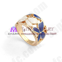 3pcs/lot,18K Real Gold Plated nickle free Oil drip Butterfly personality Jewelry Ring,FREE SHIPPING JR017