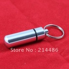 WaterProof Silvery Aluminum Keychain Pill Box Drug  Bottle  Container free shipping(China (Mainland))