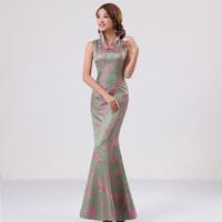 2012 bride vintage cheongsam fish tail long design classical married cheongsam evening dress q