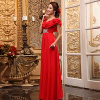 2012 red elegant long design formal dress evening dress dinner service red long design l