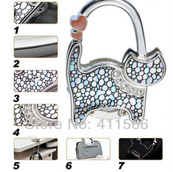 1 PC fashion originality lovely cat design Handbag Folding Bag Purse Hook Hanger Holder for gift sx013 4 colors Free shipping(China (Mainland))