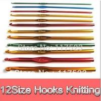 Free shipping 12 Size Mixed 6 Inch Aluminum Knit Knitting Crochet Hook Needle Weave Craft Tool