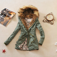 Free Ship 2013 Women's Vintage Military Wind With A Hood Fur Collar Medium Long Army Green Thickening Cotton Padded Jacket HS66