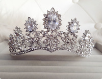 Crystal Rhinestone Crowns Shape Tiaras Wedding Accessories Luxury Silver Plated