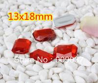 500Pcs/lPack Rectangle/Square Acrylic Sew On Stone Flatback Sewing Buttons 13x18mm rectangular octagonal Rose 500pcs/lot