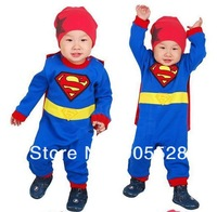 2013 Cool Superman clothing hooded shape long-sleeved Romper / climbing clothes / boys long-sleeved Romper baby Autumn Romper