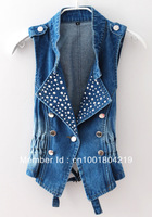 Free shipping women vest jeans windproof denim sleeveless jacket WF1001  DK BLUE colors Hot sale