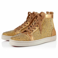 NEw Arrival  free shipping fashion coffee Unisex  canvas  High Top with horse hair  women and men sneaker Italy Flat red sole