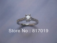 free shipping 925 silver ring with rhodium plating white cz,cz ring