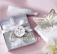 Wedding Favor - 25PCS/LOT Lovely Butterfly Metal Bookmark Baby Gift Book Mark, With White Tassel Festival Christmas Gift