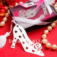 Wedding Favor - 10PCS/LOT High-heeled Shoes  Metal Bookmark Baby Gift Book Mark, With White Tassel Festival Christmas Gift