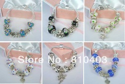 New 36 strings charms biagi Chamilia Italian Bead bracelet mix size with boxes 19cm and 20cm(China (Mainland))