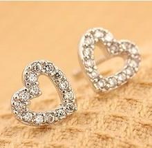 Free Shipping Korean Jewelry Cute Small Heart Rhinestone Stud Earrings 6pairs/Lot