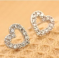 Minimal mix styles $5 Free Shipping Korean Jewelry Cute Small Heart Rhinestone Stud Earrings C24R4