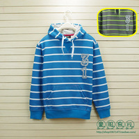 Children's clothing autumn male child big boy fleece sweatshirt outerwear bright color horizontal stripe 134 - 170 kids