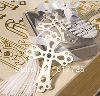 Wedding Favor - 10PCS/LOT Lovely CROSS Metal Bookmark Baby Gift Book Mark, With White Tassel Festival Christmas Gift