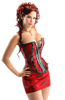 Sexy Corset Women Long Fashion overbust Red Brocade Pattern strapless corset skirt suits,Corset S M L X,XLSexy Bustier