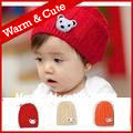 Spring & Winter toddler sweater hat Size 6M-2Y Red Orange Beige Bonnet Beanie Knitted hats Rugged Warm Cute(China (Mainland))