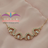 Free shipping ITALINA gold plated jewelry many kinds of belt rose gold cutout small peach heart crystal necklace chain female