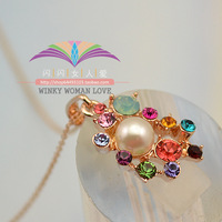 Free shipping ITALINA thickness 14k gold colorful mantianxing pearl flower small daisy necklace accessories female 744
