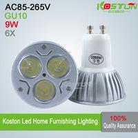 6X GU10 AC85-265V 9W High Power LED Spotlight  LED Bulb Lamp CE CREE lamps
