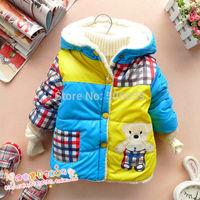 Free shipping child autumn winter coat child thickening cotton-padded jacket  baby plus velvet wadded jacket baby parkas
