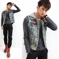 New Arrival 2013 Spring/Autumn Men's Sleeveless Hooded Coat Outwear Fashion Denim Jean Jacket Vest Men
