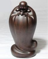 26CM Sandalwood Figure Maitreya Buddha Statue,  Wooden statue of Buddharupa Decoration joss sculpture Handicraft Business Gift