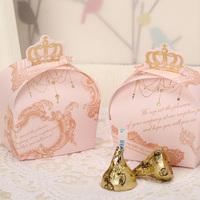 GAGA !   Free shipping pink crown wedding sweet box , paper gift boxes , packing box , 250 pcs/lot , CB2004-2